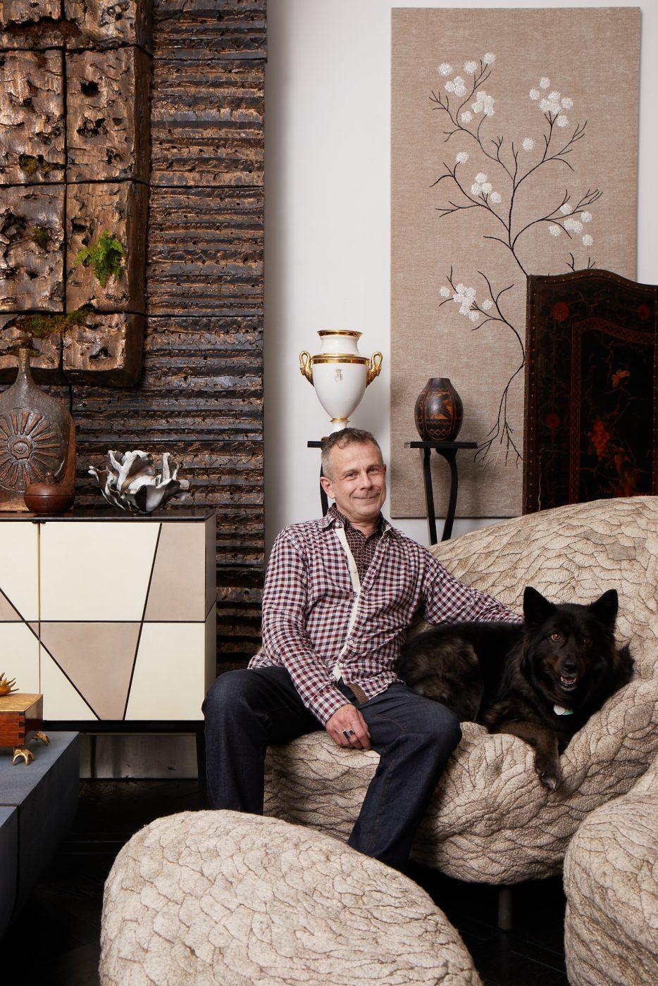 Portrait of Benoist Drut with his dog