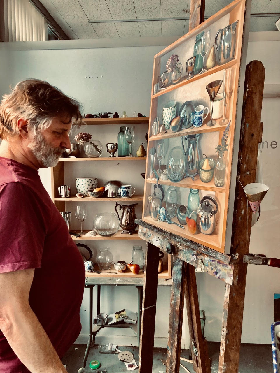 Eric Forsmann painting in his Connecticut studio