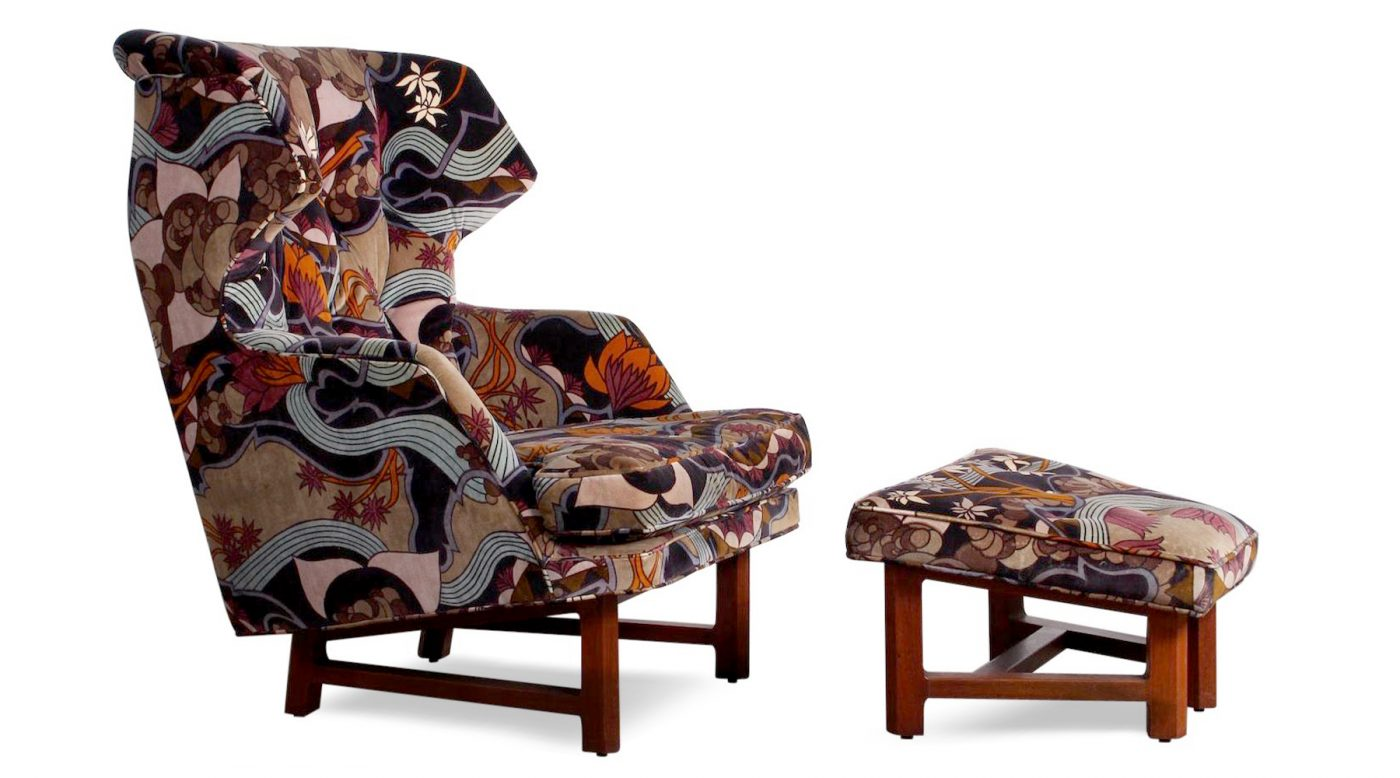 EDWARD WORMLEY FOR DUNBAR JANUS WING CHAIR AND OTTOMAN, 1950S