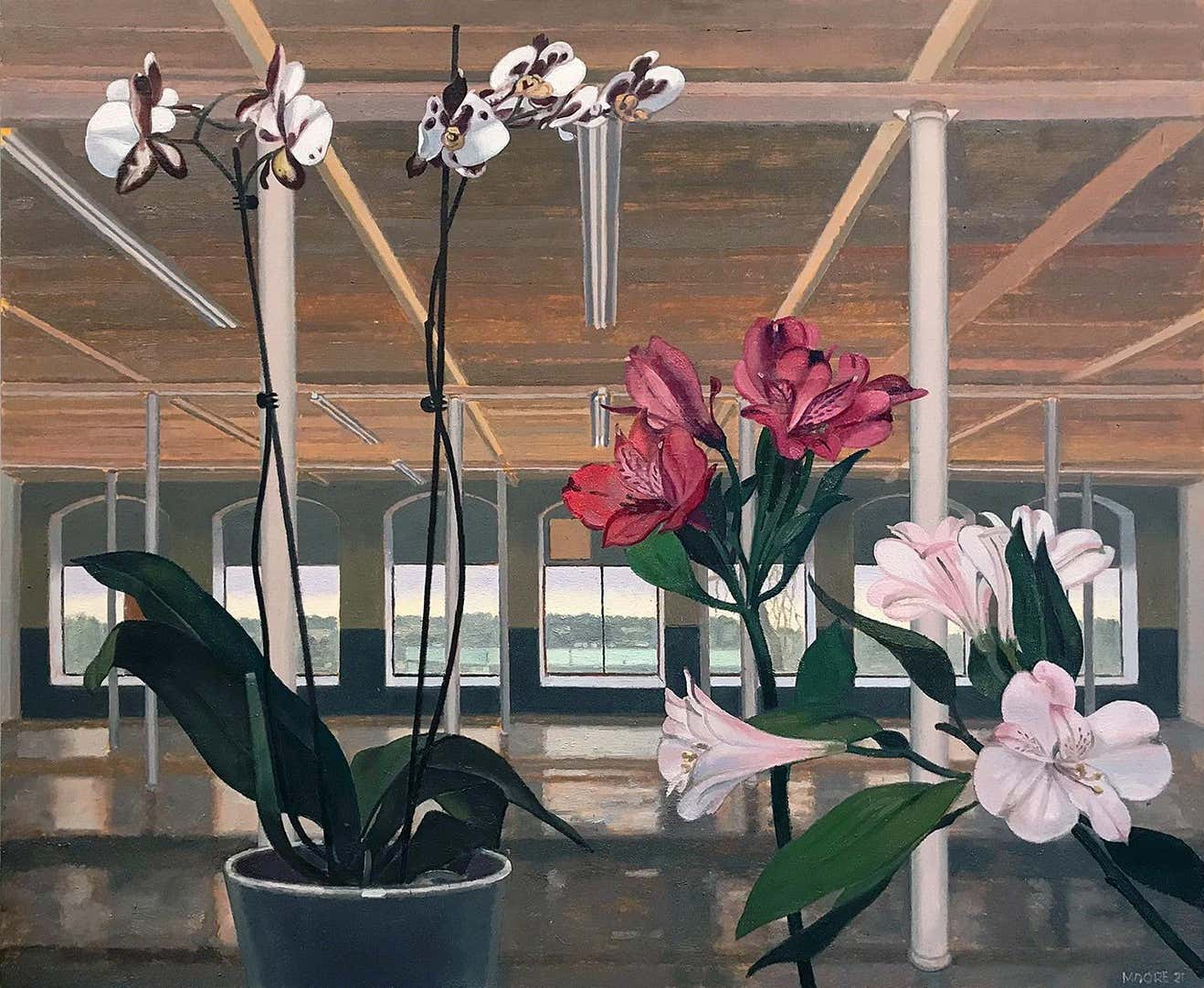 Orchids and Lilies, 2021, by John Moore