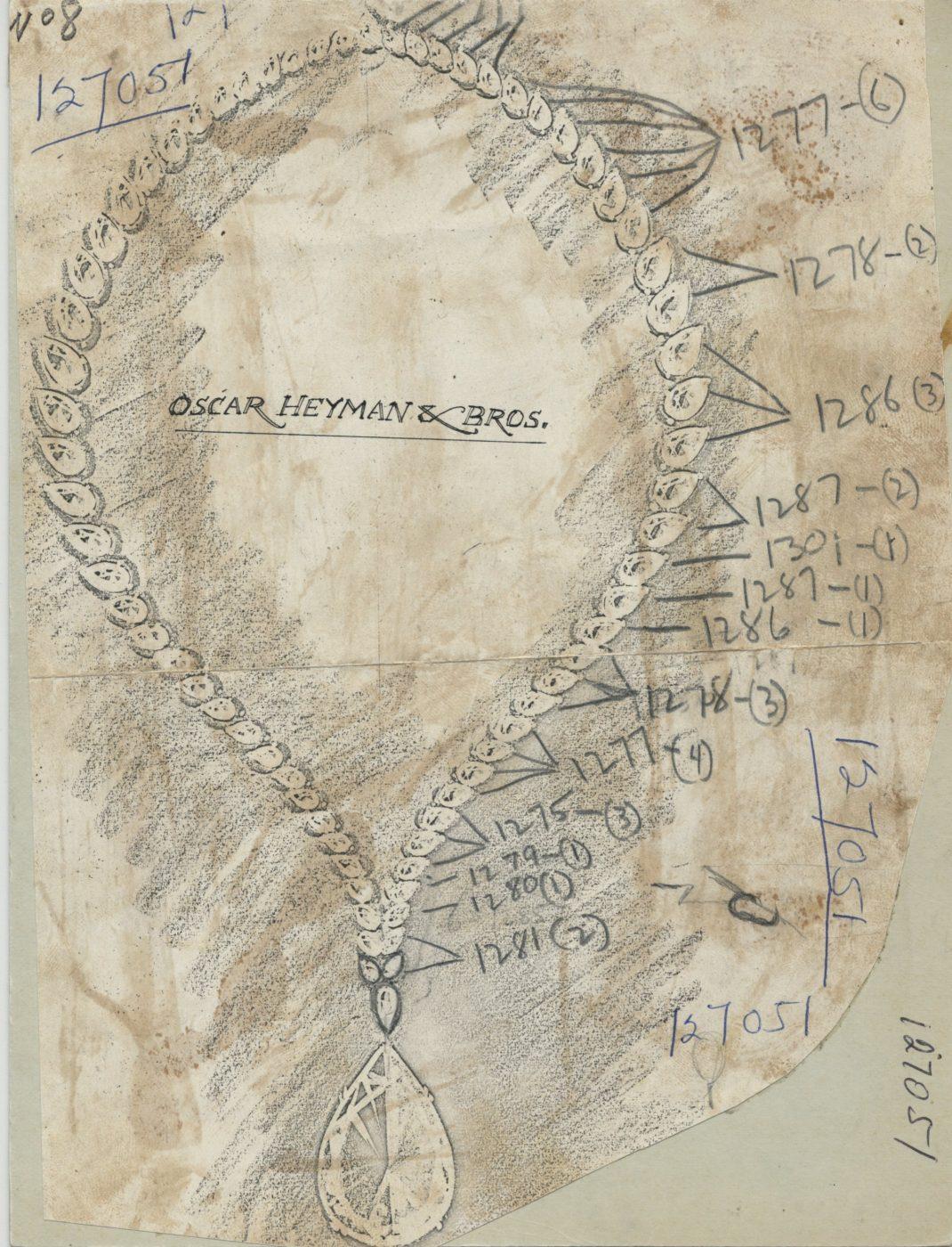 Oscar Heyman sketch of the Taylor-Burton Diamond