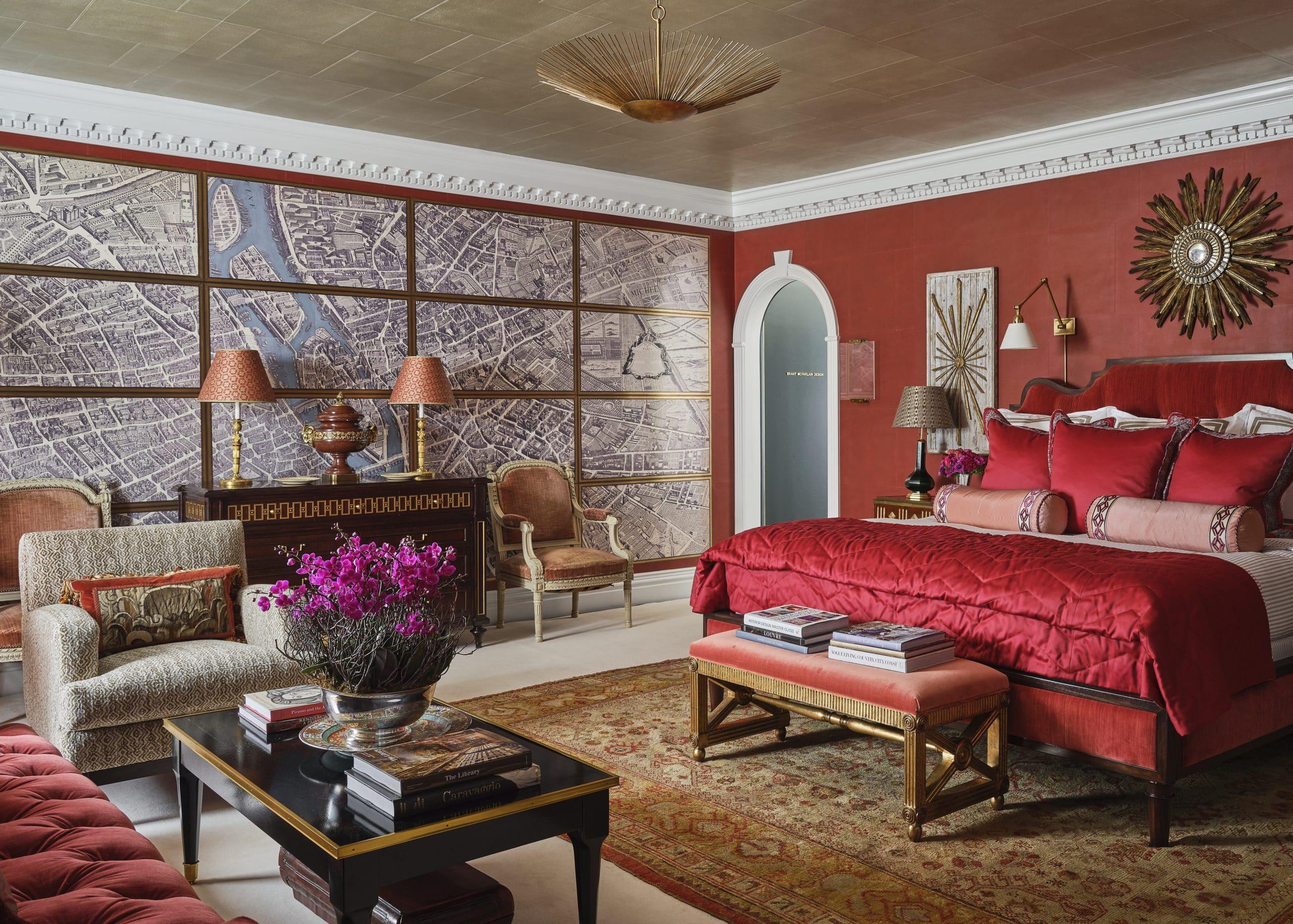 Bedroom designed by Mark Hampton LLC