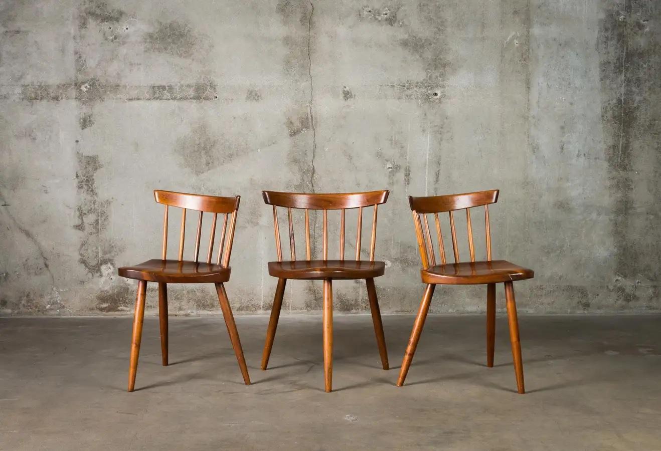 Set of three George Nakashima Mira Chairs