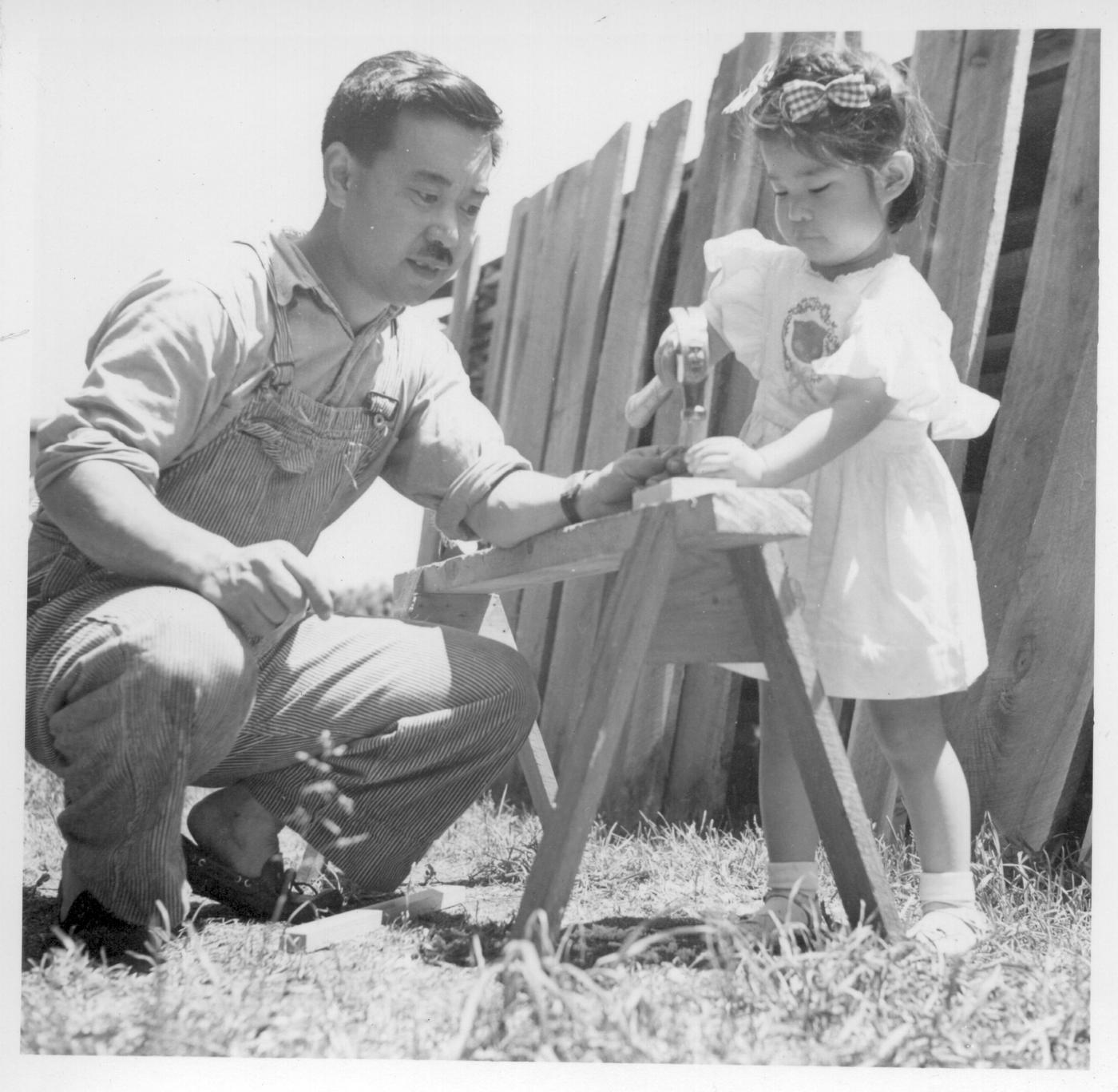Mira Nakashima with her father George Nakashima