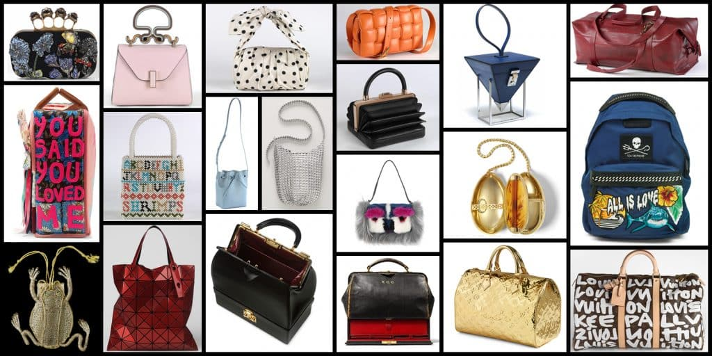 """A selection of bags in the exhibition """"Bags: Inside Out,"""" at London's Victoria and Albert Museum"""
